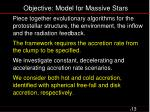 objective model for massive stars