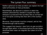the lyman flux summary