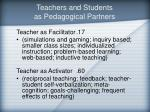 teachers and students as pedagogical partners