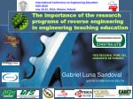 the importance of the research programs of reverse engineering in engineering teaching education