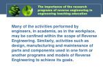 the importance of the research programs of reverse engineering in engineering teaching education1
