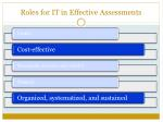 roles for it in effective assessments