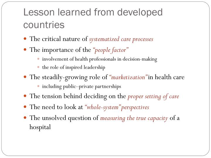 Lesson learned from developed countries