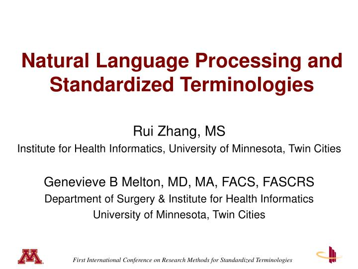 natural language processing and standardized terminologies n.