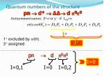 quantum numbers of the structure