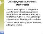 outreach public awareness deliverables