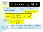 expression de k p et de k c