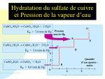 hydratation du sulfate de cuivre et pression de la vapeur d eau