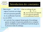 introduction des constantes