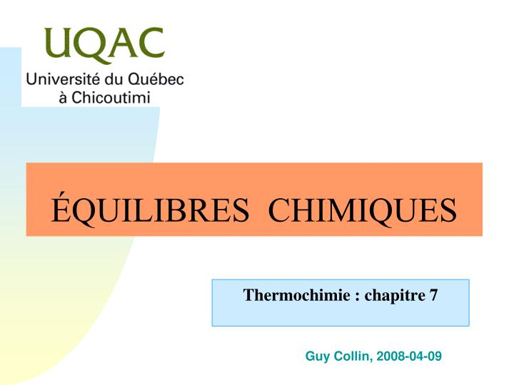 quilibres chimiques n.