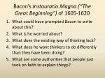 bacon s instauratio magna the great beginning of 1605 1620