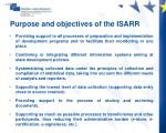 purpose and objectives of the isarr