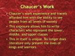 chaucer s work