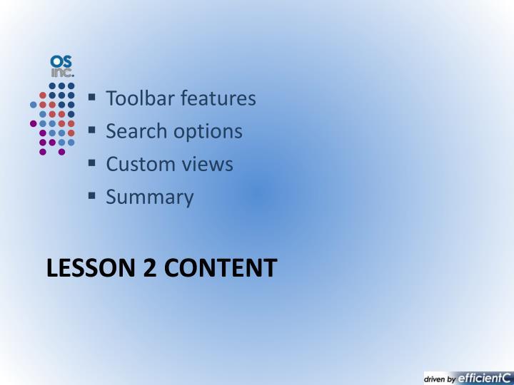 Lesson 2 content