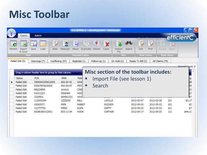 Misc Toolbar