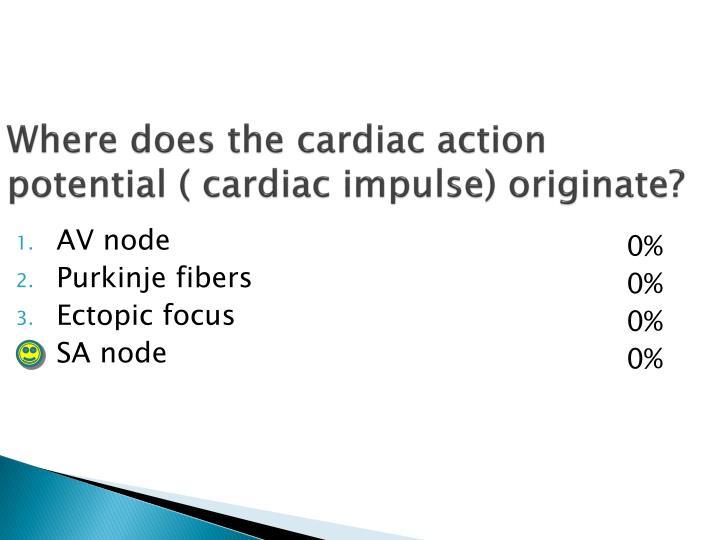Where does the cardiac action potential ( cardiac impulse) originate?