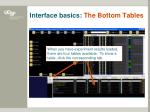 interface basics the bottom tables
