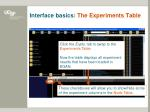 interface basics the experiments table