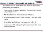element 5 master s responsibility authority
