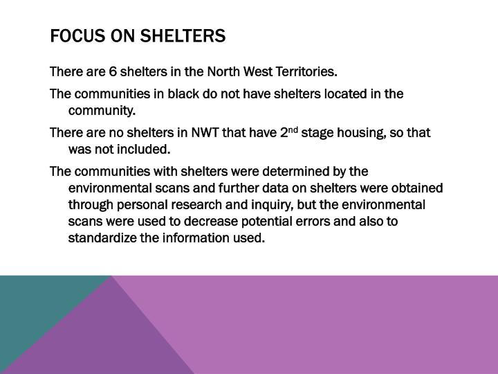 Focus on Shelters