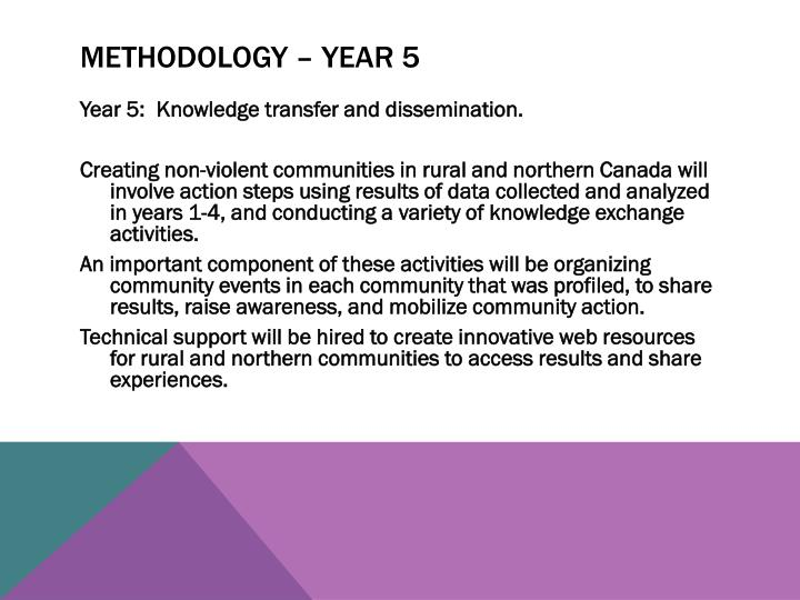 Methodology – year 5