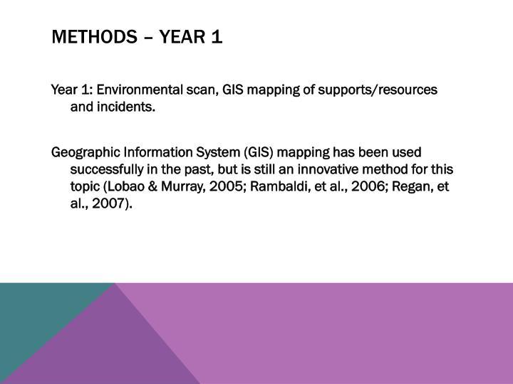 Methods – year 1