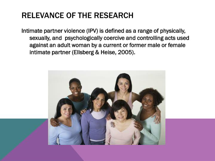 RELEVANCE OF THE RESEARCH