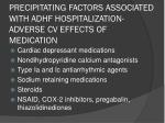 precipitating factors associated with adhf hospitalization adverse cv effects of medication