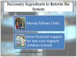 necessary ingredients to reform the system