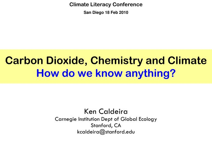 carbon dioxide chemistry and climate how do we know anything n.
