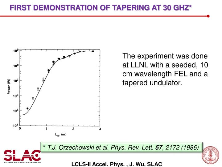 First demonstration of tapering at 30 GHz*
