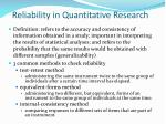 reliability in quantitative research