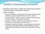 validity in quantitative research