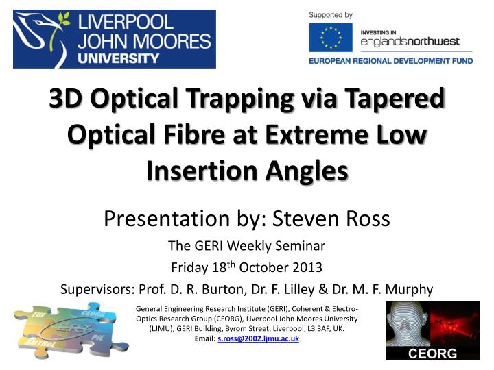 3d optical trapping via tapered optical fibre at extreme low insertion angles n.