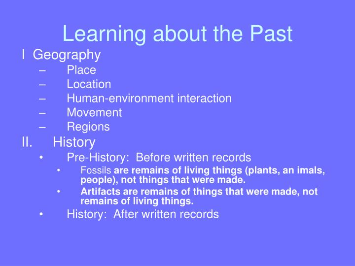 learning about the past n.