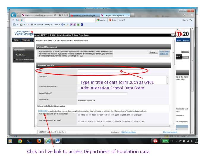 Type in title of data form such as 6461 Administration School Data Form