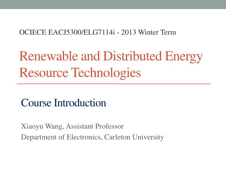 renewable and distributed energy resource technologies n.