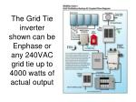 the grid tie inverter shown can be enphase or any 240vac grid tie up to 4000 watts of actual output