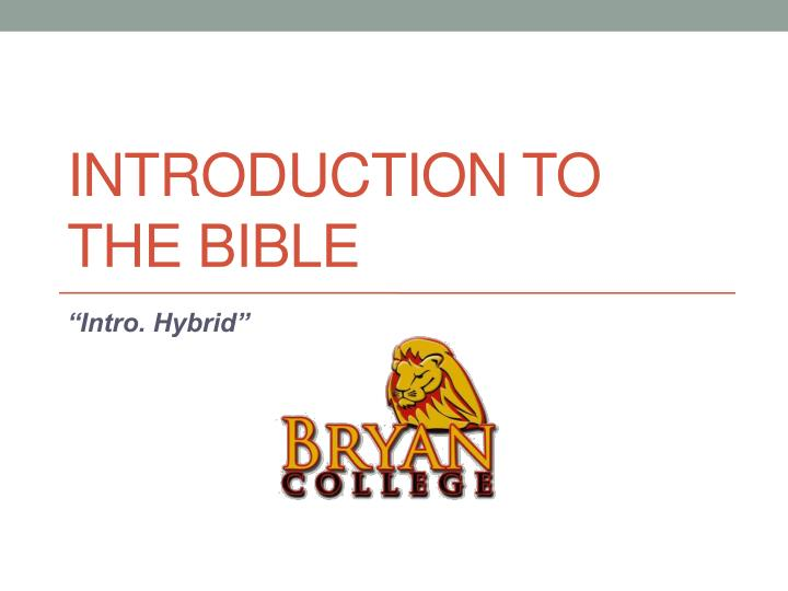 introduction to the bible n.