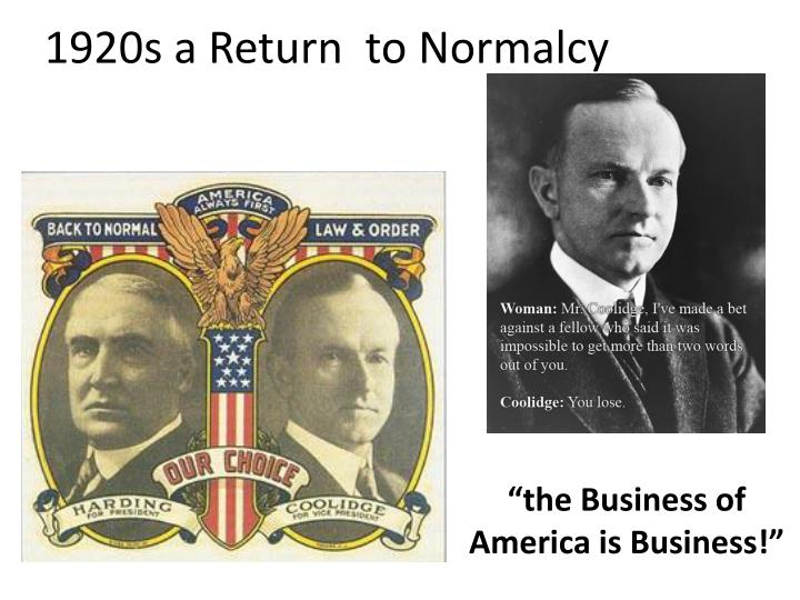 1920s a return to normalcy n.