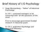 brief history of i o psychology