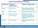 limits of pre modern physics