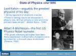 state of physics cira 18951
