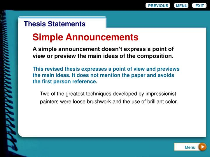 thesis express How to write a thesis statement express an open-minded tone, finding common ground between different views 7 realize that your thesis does not have to be absolute.