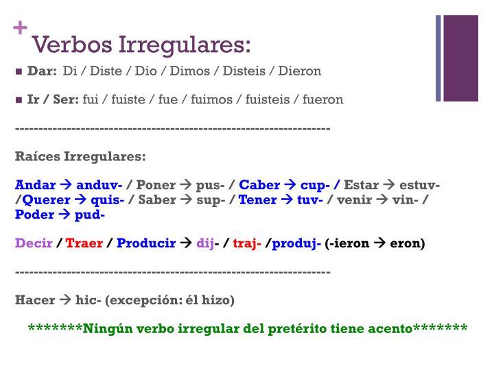 Verbos Irregulares: