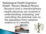 radiological health engineers health physics medical physics