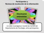 participantes y t cnicas de recolecci n de la informaci n
