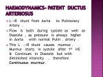 haemodynamics patent ductus arteriosus