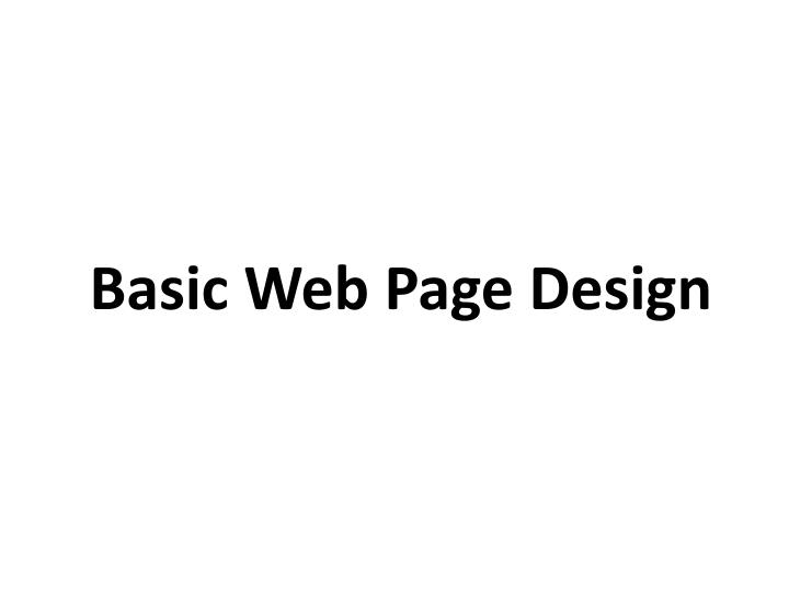 basic web page design n.