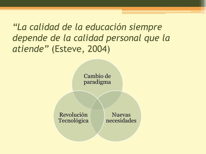 La calidad de la educaci n siempre depende de la calidad personal que la atiende esteve 2004